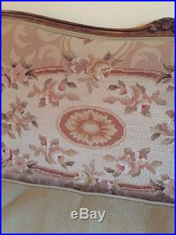 Magnificient Antique Needlepoint Sofa Couch With Preppy Gingham