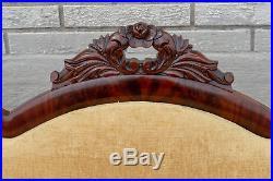 Mahogany American Empire Sofa Antique 19th Century Newly Upholstered & Restored