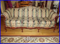 Mahogany Chippendale Mid-1900's Camelback Style Claw & Ball Sofa & Chair Reduced