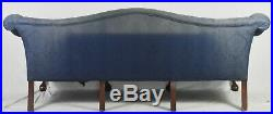 Mahogany Chippendale Style Camel Back Sofa Claw & Ball Feet Blue Damask Fabric