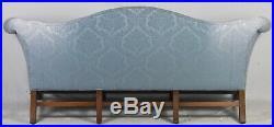 Mahogany Chippendale Style Camel Back Sofa Williamsburg Style Blue Damask Fabric