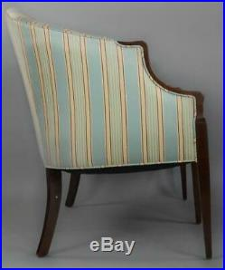 Mahogany Federal Style Settee with Silk Stripped Fabric Bellflower Inlays