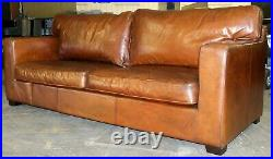 Maisons Du Monde Saddle Leather Three Seater Sofa On Track Arms & Wooden Feet
