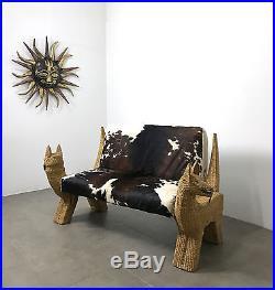 Mario Lopez Rattan Wicker Cowhide Settee Sofa Bench Mid Century Mexican Modern