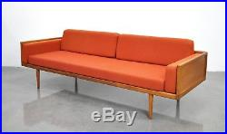 Mel Smilow Walnut Case Sofa Mid-Century Danish Modern Couch 1950s Thielle 1960s