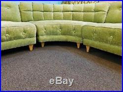 Mid Century Couch 60s Sectional Sofa Midmod Regency Tufted Velvet Apple Green