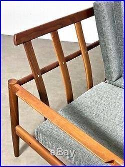 Mid Century Danish Modern Borge Jensen Teak Frame Sofa Wegner Kofod Larsen Era
