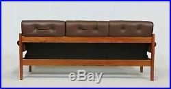 Mid Century Danish Modern Ekornes Teak and Leather Amigo Three-Seat Sofa