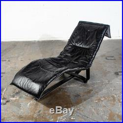 Mid Century Danish Modern Lounge Chair Chaise Black Leather Westnofa Reversible