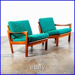 Mid Century Danish Modern Settee Sofa Aqua Chairs Teak Illum Wikkelso N Eilersen