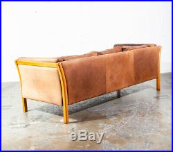 Mid Century Danish Modern Sofa Couch 3 Seater Stouby Worn Leather Tan Denmark