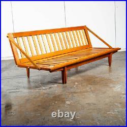 Mid Century Danish Modern Sofa Couch Bed Daybed Folding Cream Oak Beech Wegner M