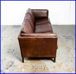 Mid Century Danish Modern Sofa Couch Brown Leather Stouby Borge Mogensen 3 seat