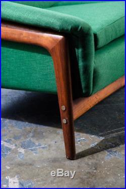 Mid Century Danish Modern Sofa Couch Dux Folke Ohlsson Teak Green Swedish Mcm XL