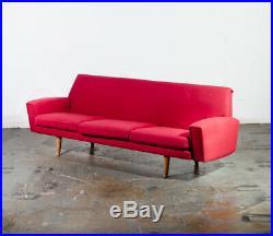 Mid Century Danish Modern Sofa Couch Hans Wegner Oak Red Getema 3 Seater GE Wool