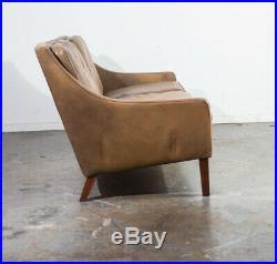 Mid Century Danish Modern Sofa Couch Leather Borge Mogensen Rosewood Denmark Mcm