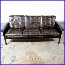 Mid Century Danish Modern Sofa Couch Leather Hans Olsen Black Arm Glostrup Worn