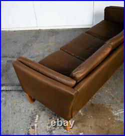 Mid Century Danish Modern Sofa Couch Mogens Hansen Brown Tan 3 Seater Oak Wood