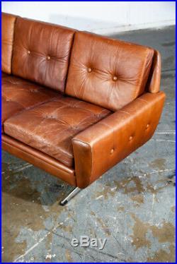 Mid Century Danish Modern Sofa Couch Svend Skipper Cognac Brown Leather Denmark