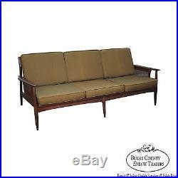 Mid Century Danish Modern Style Walnut Cane Arm Sofa