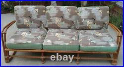 Mid Century Heywood Wakefield Bamboo Couch with Original Atomic Fabric Tagged
