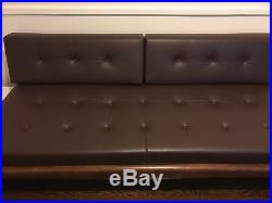 Mid Century Leather Sofa with Floating End Tables