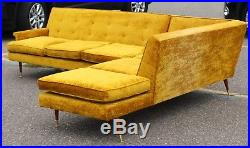 Mid Century Modern 2 Pc Sectional Sofa Dunbar or Probber Attributed 1960s