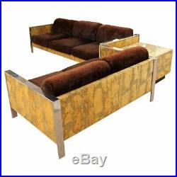 Mid Century Modern Adrian Pearsall Chrome Cork Sofa Loveseat Set 1970s