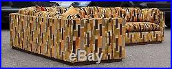 Mid Century Modern Baughman 2 Piece Sectional Sofa Plinth Base Larsen Style
