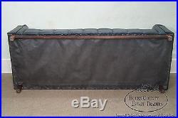 Mid Century Modern Black Tufted Faux Leather Walnut Box Sofa