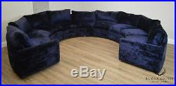 Mid Century Modern Blue Curved Circular Sectional Sofa