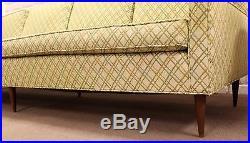 Mid Century Modern Danish Scandinavian Style Long Sofa on Wooden Legs