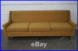 Mid Century Modern Danish Style Yellow Gold Upholstered Walnut Sofa