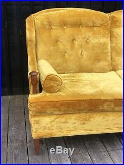 Mid Century Modern Golden Yellow Mustard Velvet Sofa Vintage