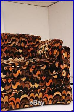 Mid Century Modern LOVESEAT vintage Jack Lenor Larsen couch sofa cloth black 60s