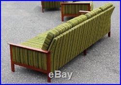 Mid Century Modern Long Teak Frame Sofa Danish 1960s Wegner Era