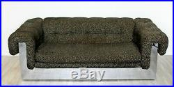 Mid Century Modern Milo Baughman Chrome Wrapped Tufted Sofa Loveseat 1970s
