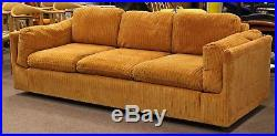 Mid Century Modern Milo Baughman Pair of Orange Sofa & Loveseat on Casters 1960s