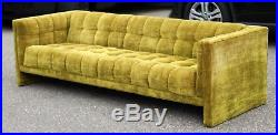 Mid Century Modern Milo Baughman Tufted Tuxedo Velvet Sofa 1960s Dunbar Style