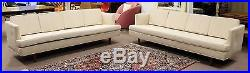 Mid Century Modern Pair Of Wormley for Dunbar Long Off White Sofas