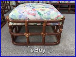 Mid Century Modern Rattan Bamboo Sofa Set 4 Pieces