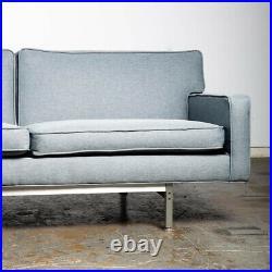 Mid Century Modern Sofa Couch Alcoa Aluminum Co. Florence Knoll Grey Blue 3 Seat