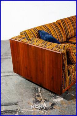 Mid Century Modern Sofa Couch Case Walnut Milo Baughman Van Dyver Witt Vintage M