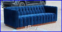 Mid Century Modern Tufted Blue Velvet Plinth Base Sofa Baughman Dunbar Style