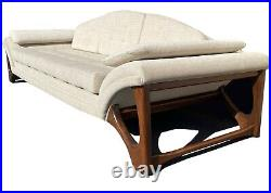 Mid Century Modern sofa couch gondola style with sculptural walnut base