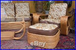Mid-Century Paul Frankl Pretzel Style Rattan Furniture, 7 pieces