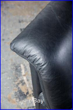 Mid Century Post Modern Leather Sofa Couch Settee Natuzzi Italy Black
