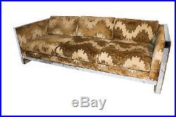 Mid Century Selig Monroe Milo Baughman Style Chrome Sofa