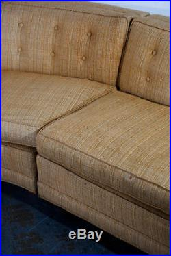 Mid Century modern Sectional Sofa Couch Gold Rounded Large Vintage Custom Mcm VG