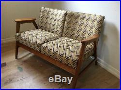 Mid-century Modern Gunlocke Sofa Op Art upholstery